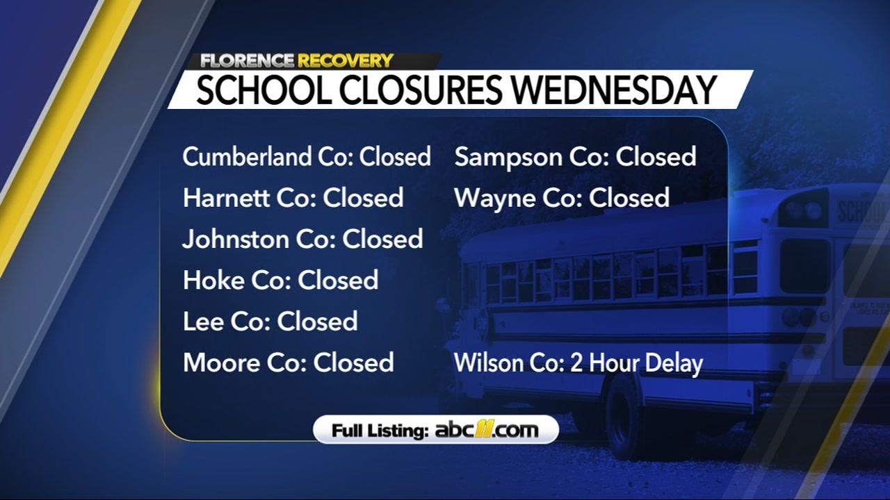 School closures Sept. 19 2018 6 a.m.
