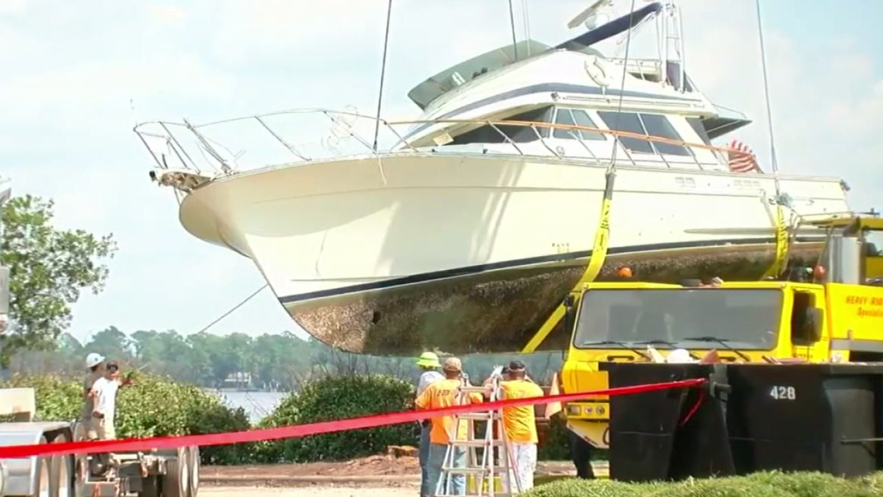 The boat that ended up resting beside the Courtyard by Marriot in New Bern after Hurricane Florence was finally removed on Thursday.