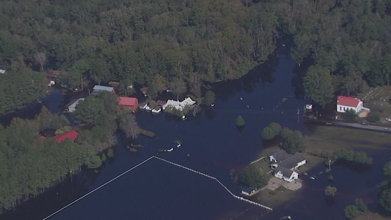 Chopper 11 HD flew over Ivanhoe, which remains heavily flooded down in Sampson County.