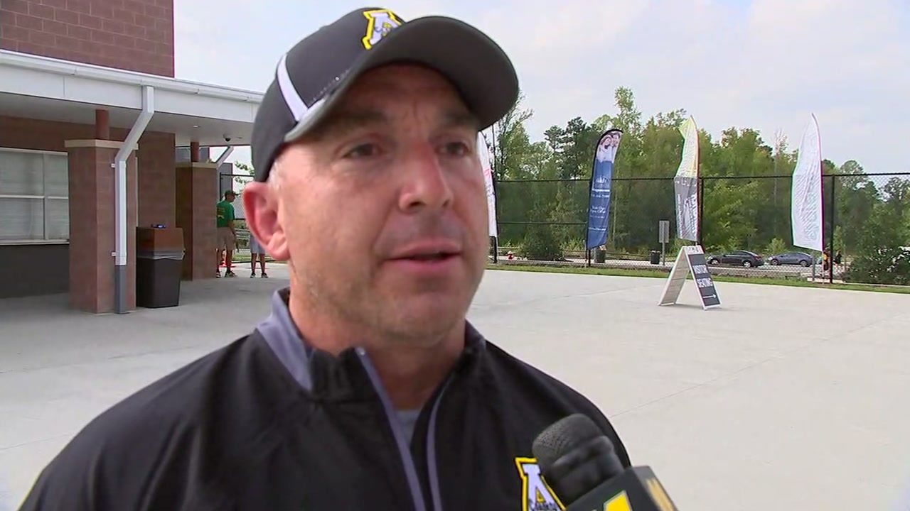 Apex football coach Britt Morton talks about his teams huricane relief efforts.