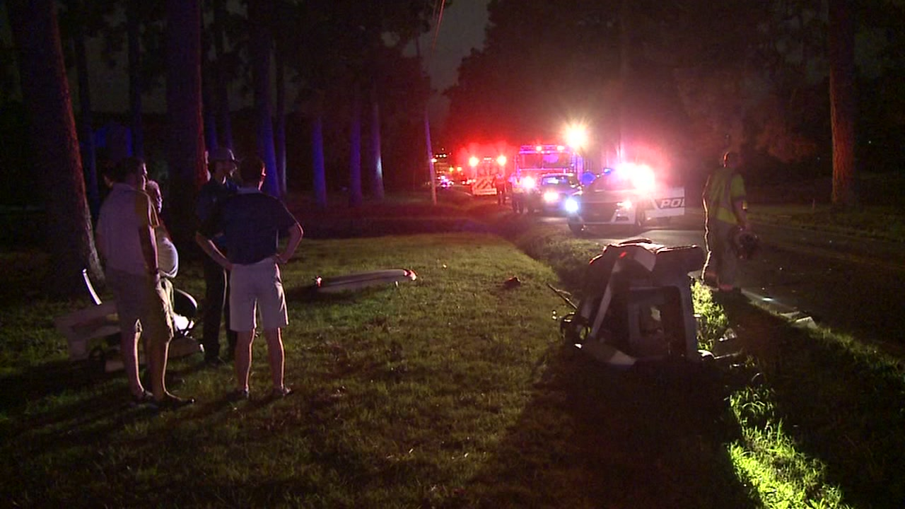 A woman is in the hospital after Durham police said a car plowed into the golf cart she was driving.