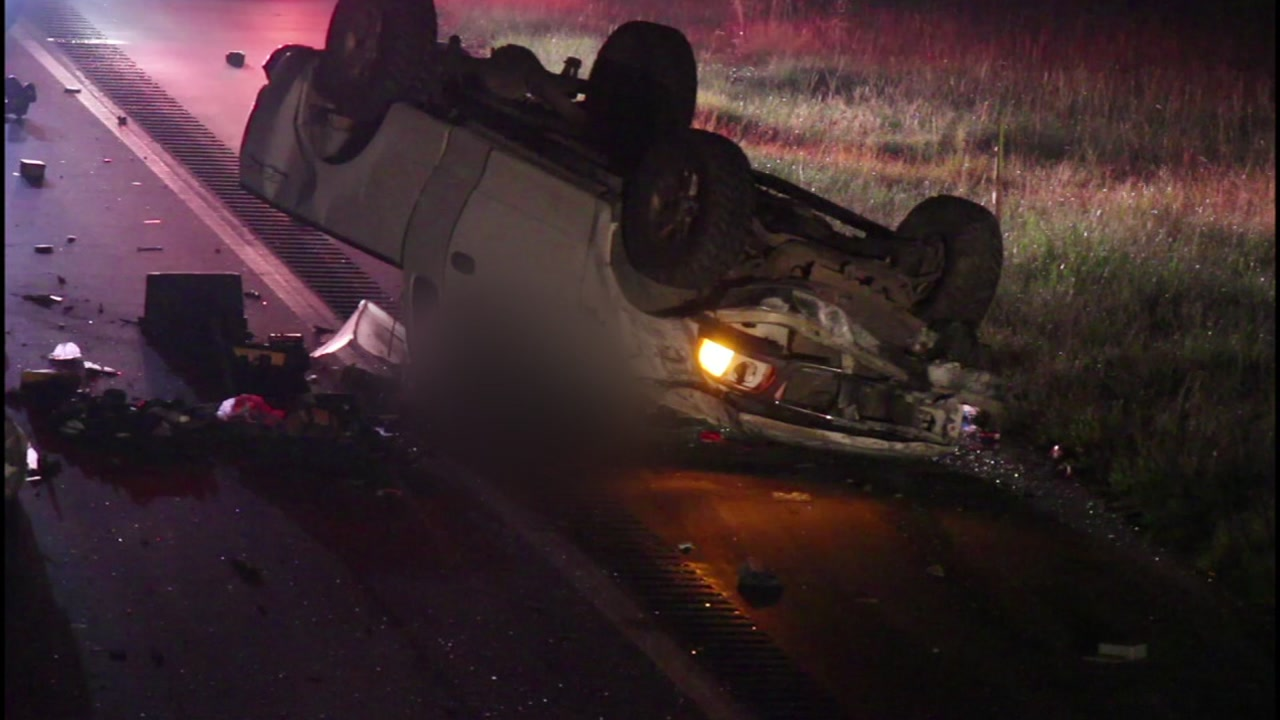 Authorities are working to learn the cause of a crash that overturned two vehicles on I-95 in Cumberland County Tuesday morning.