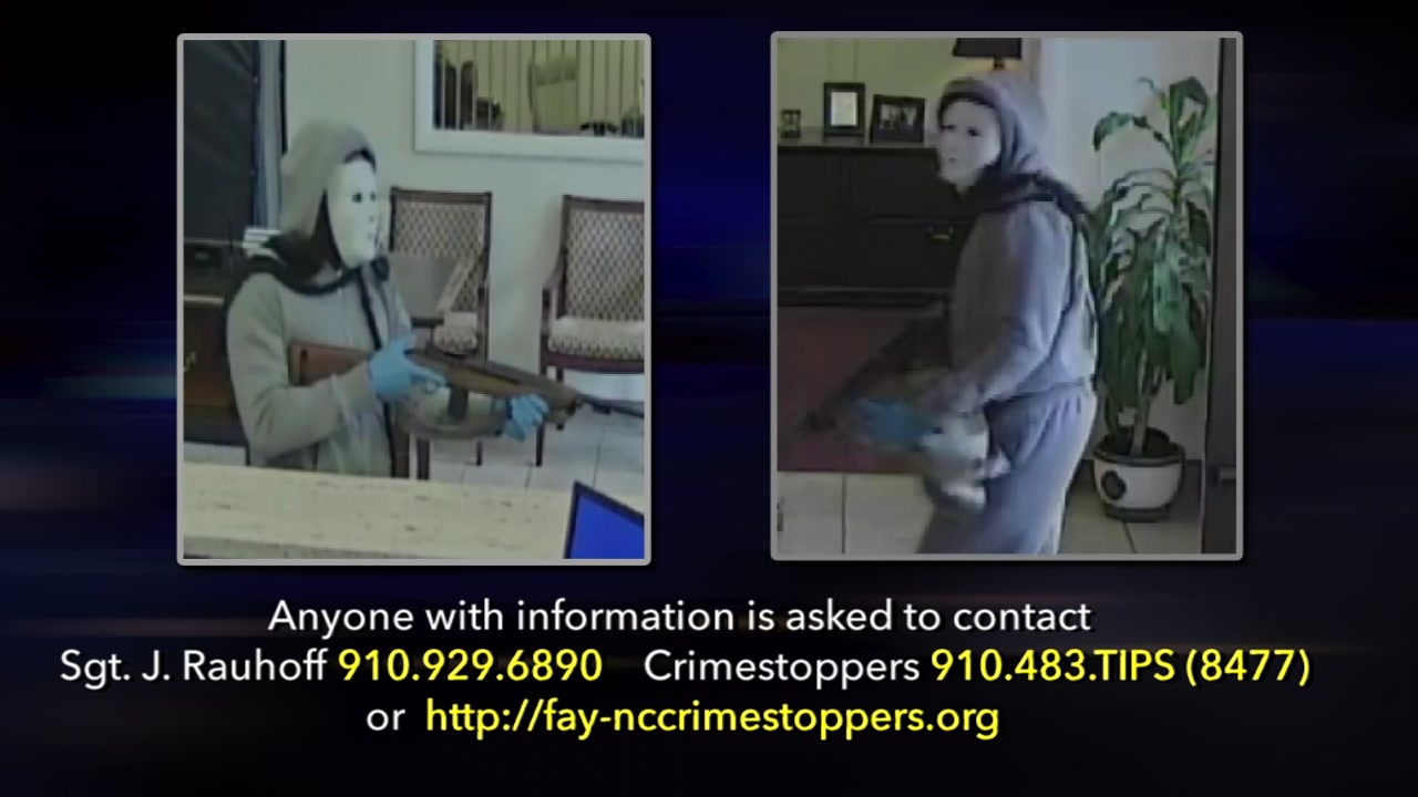 Fayetteville police searching for a masked suspect who robbed a First Citizens Bank.