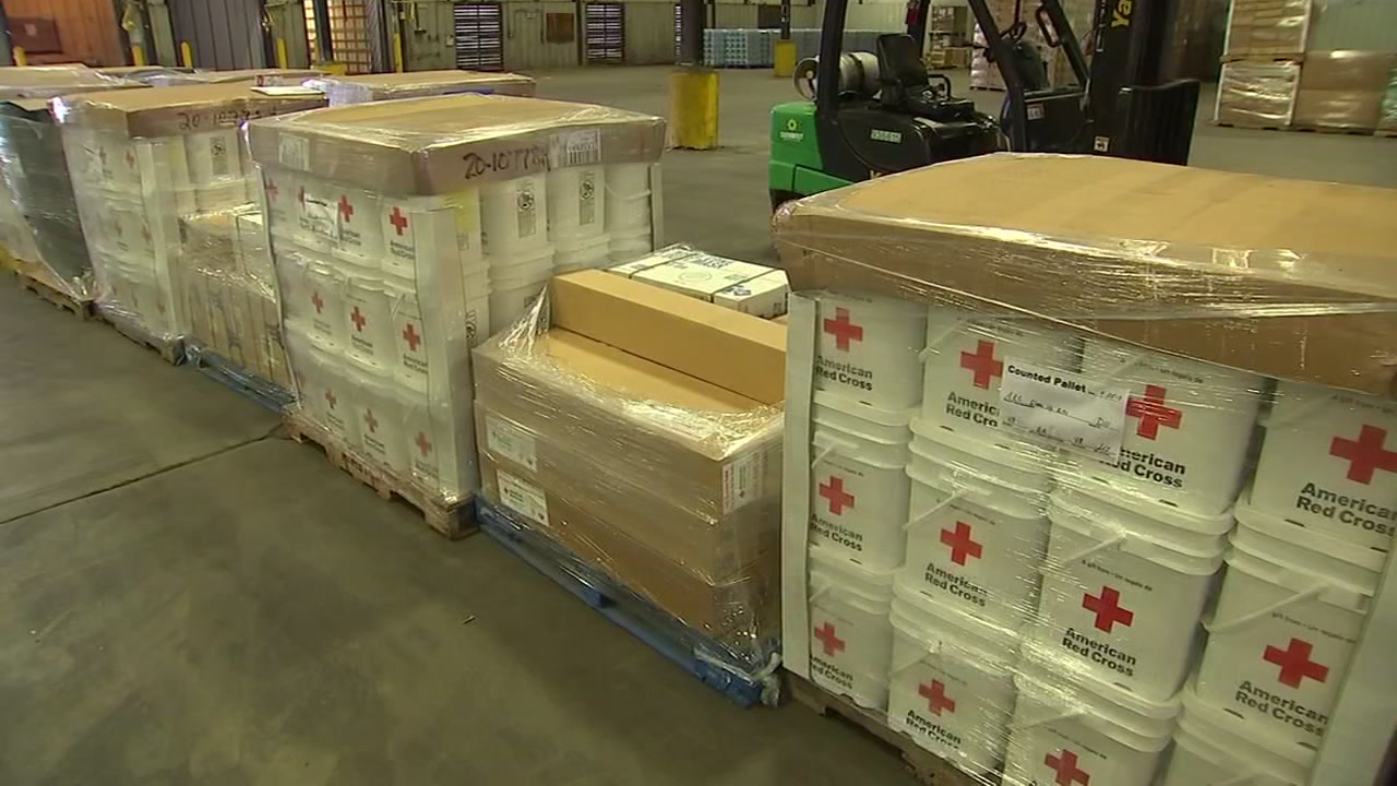 An old warehouse in Fayetteville was transformed into a Red Cross distribution center.