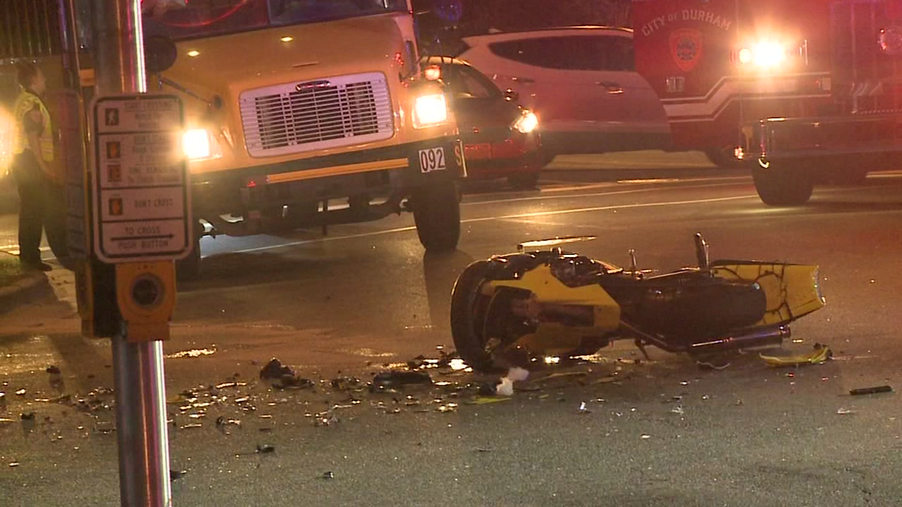 At least one person is dead after a multi-vehicle crash involving a motorcycle Wednesday morning, Durham police said.