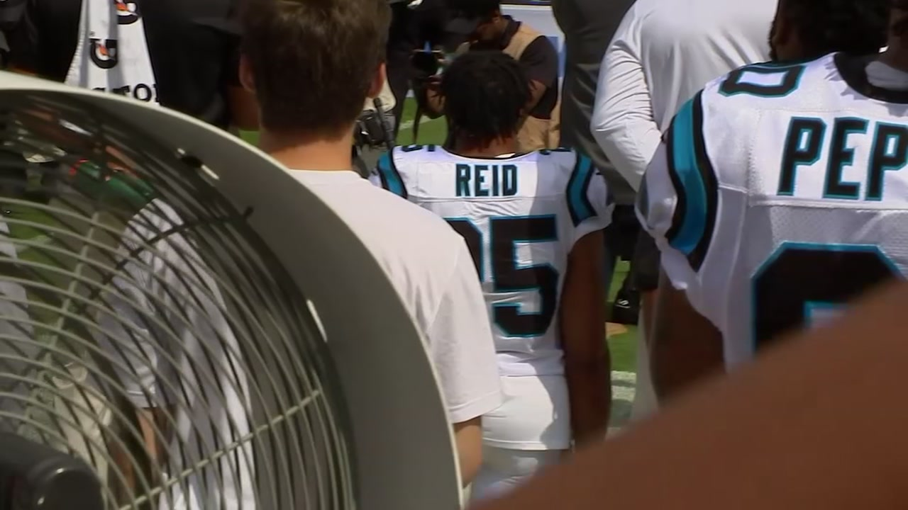 Eric Reid returned to the NFL Sunday and took a knee during the national anthem before kickoff against the New York Giants - becoming the first Panther to do so.