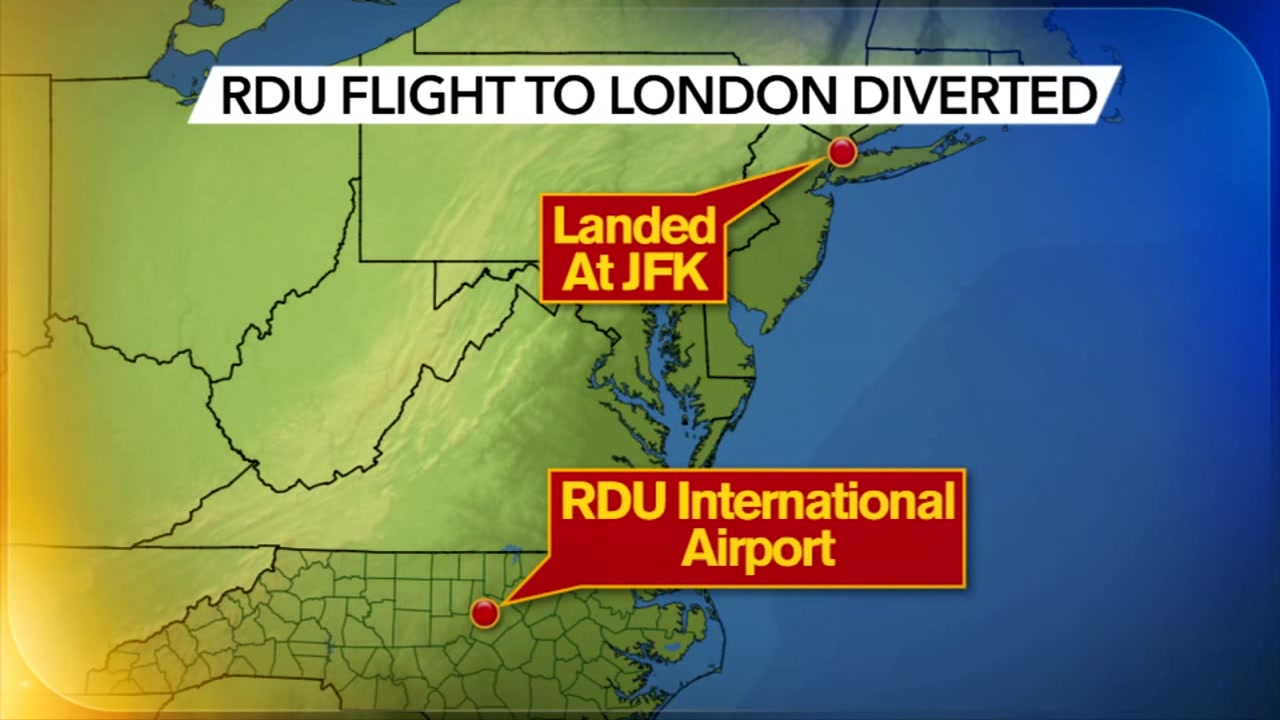 The American Airlines flight from RDU that diverted to JFK is on its way to London.
