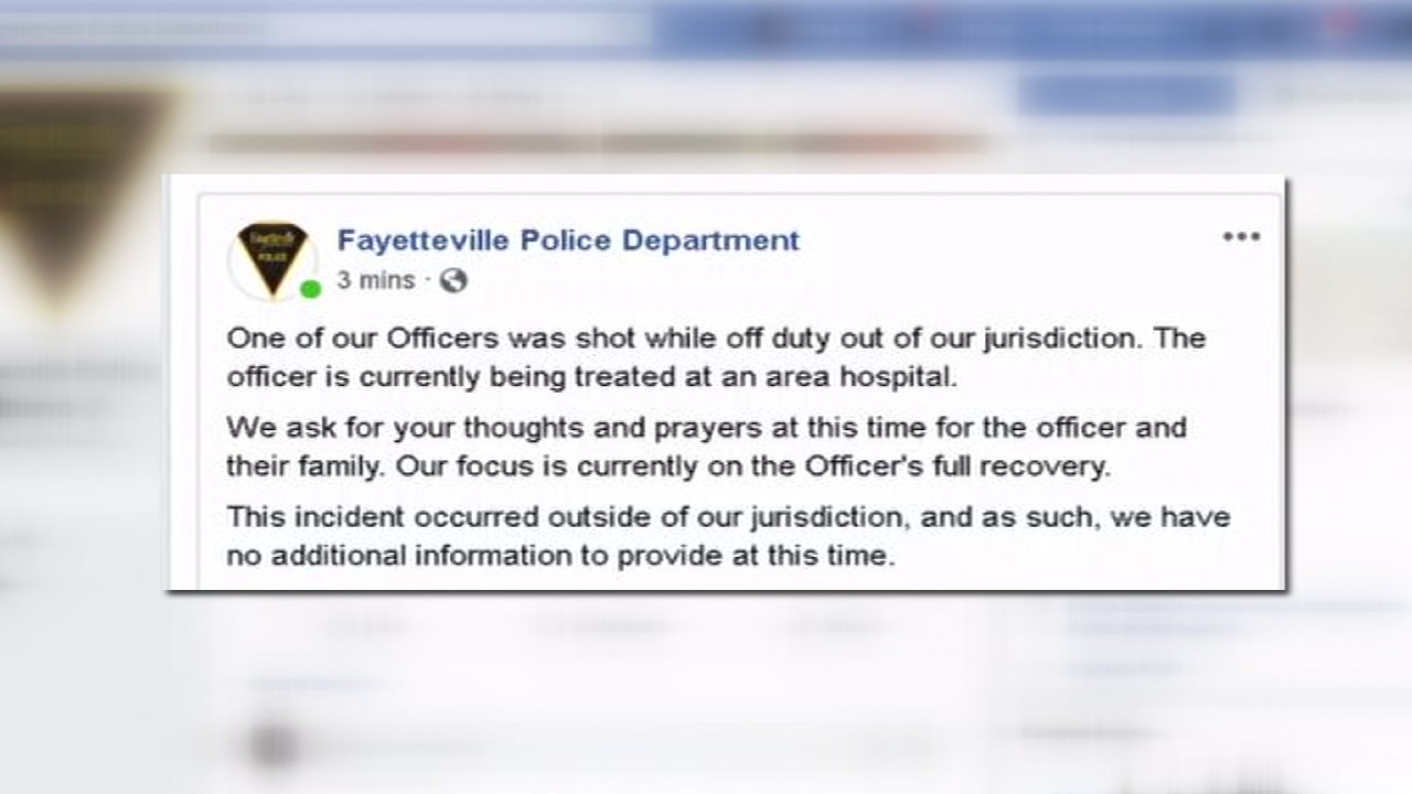 The Fayetteville Police Department confirmed in a Facebook post that one of their officers was shot while off-duty.