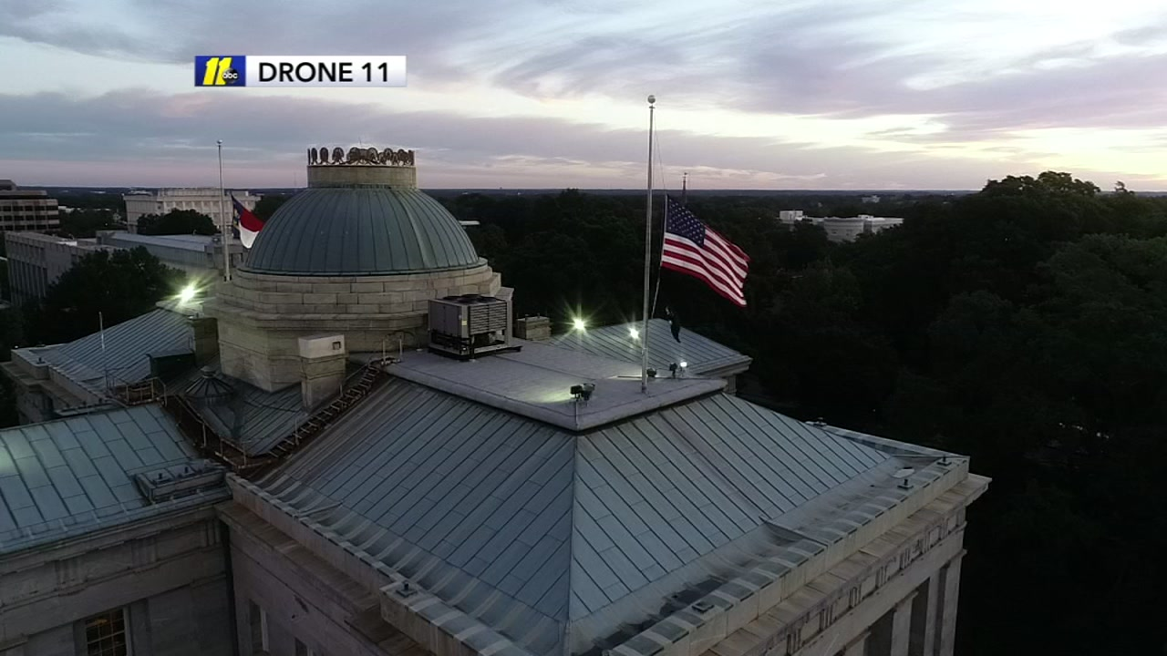 Flags at the NC State Capitol were lowered to half staff for fallen trooper Kevin Conner.