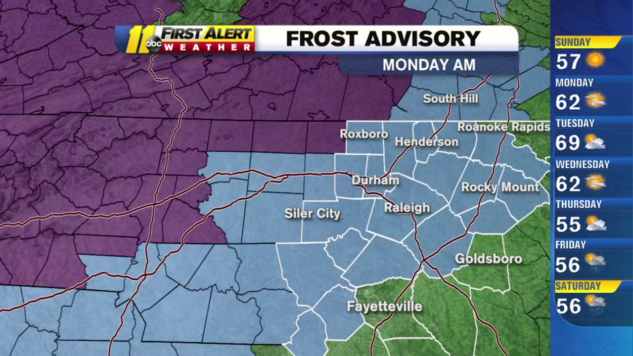 Frost possible in parts of central North Carolina tonight