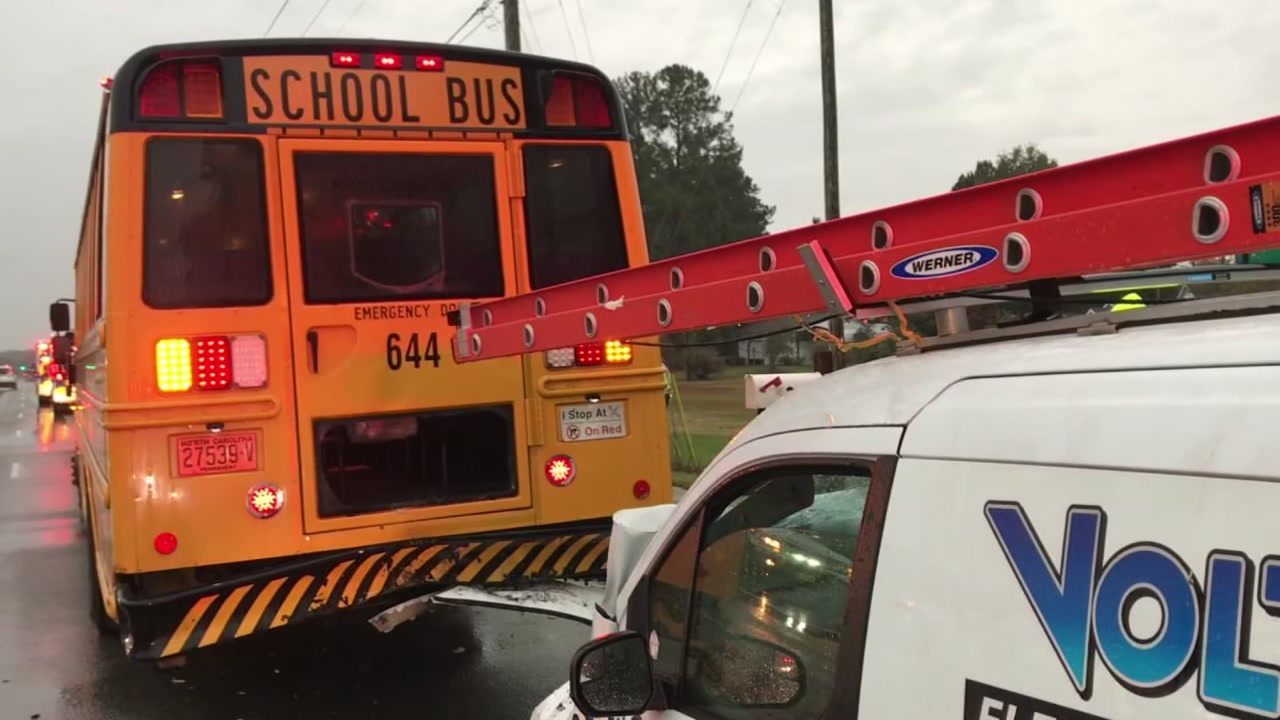 A school bus crashed Friday morning in Fuquay-Varina.