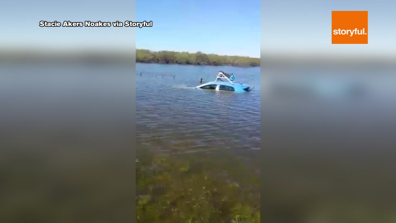 Some people are scratching their heads after a Google Maps car ended up in a lake.