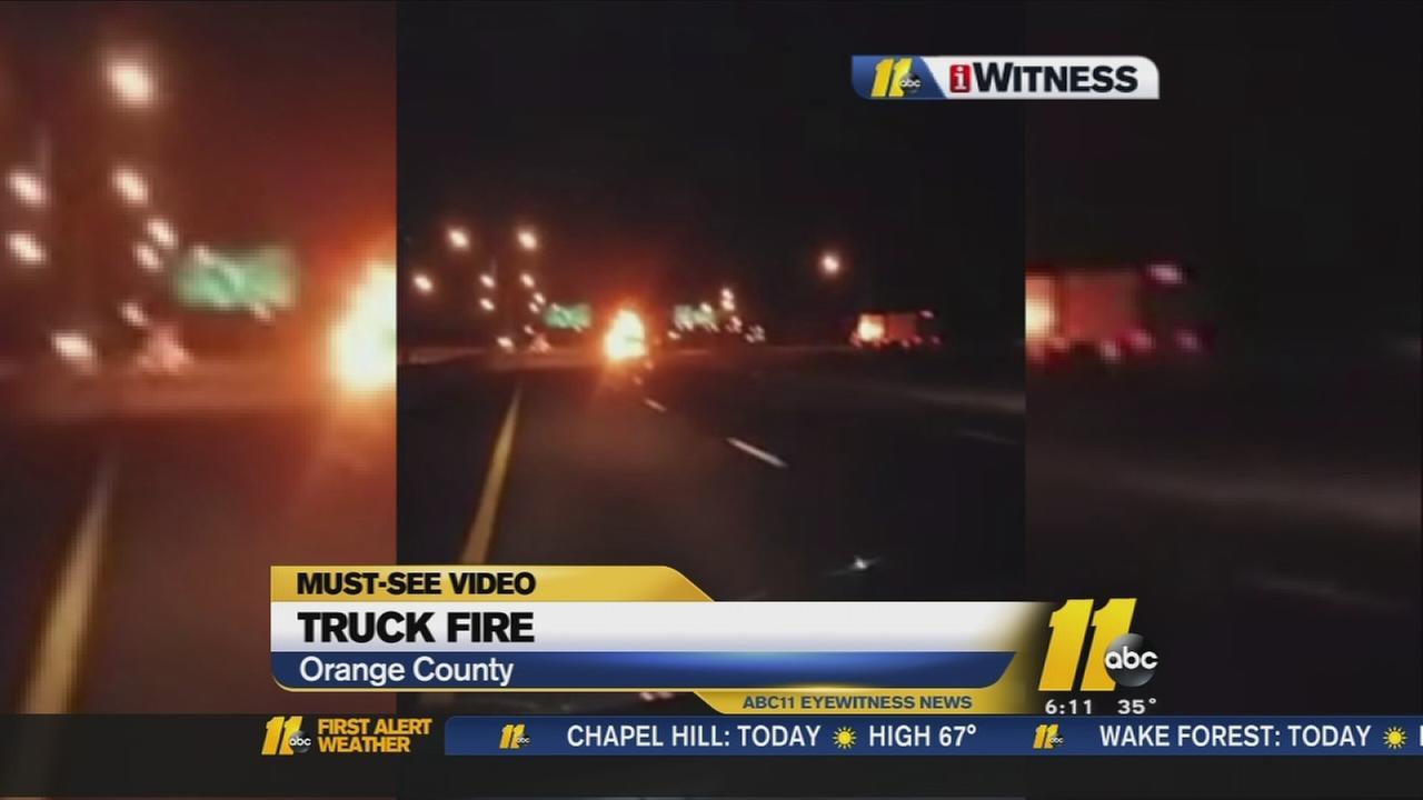 Tractor trailer fire in Orange County