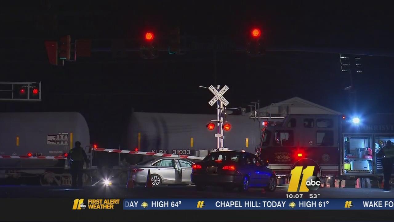 Train slams into car in Morrisville