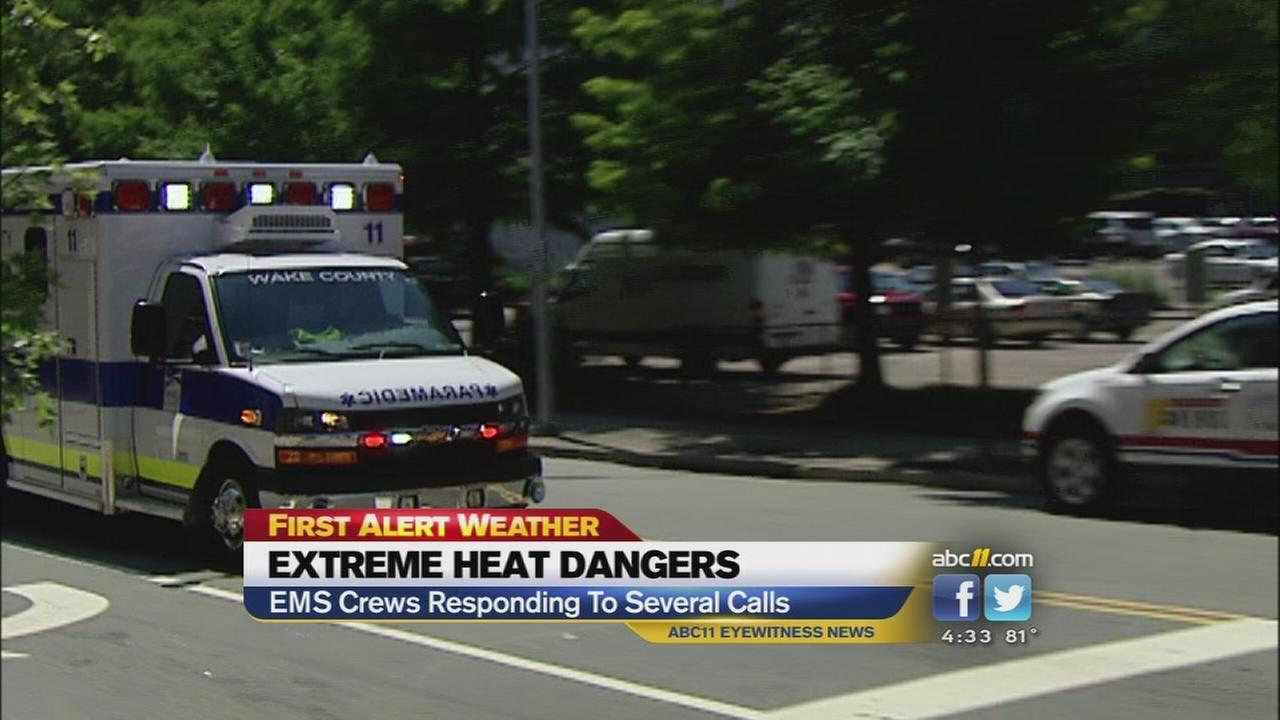 EMS busy in the stifling heat