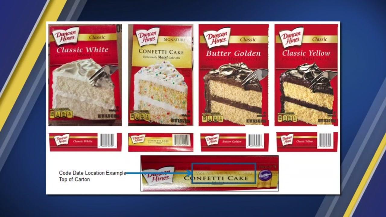 Cake mixes recalled over salmonella concerns.