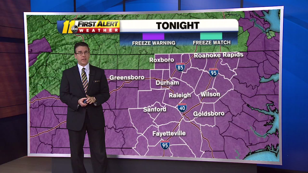 The National Weather Service issued a Freeze Watch for all of Central North Carolina from 10 p.m. Saturday until 9 a.m. Sunday.
