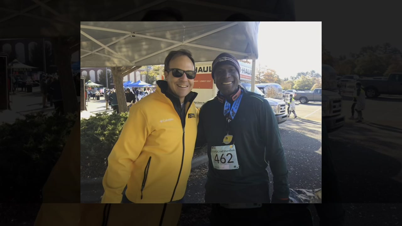 Runners had a chilly start to the RDC Marathon along the American Tobacco Trail in Durham with temperatures in the upper 20s.