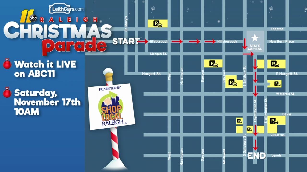 2018 Raleigh Christmas Parade route