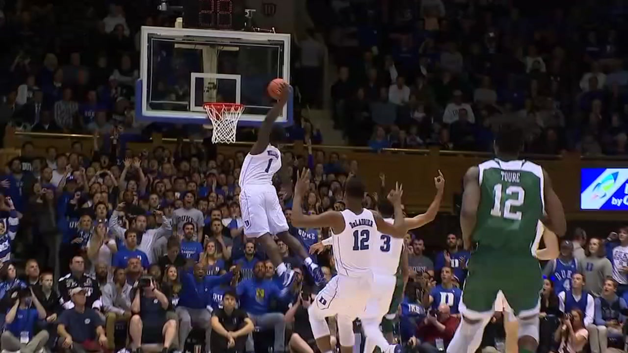 Zion flies high, Duke soars past Eastern Michigan.