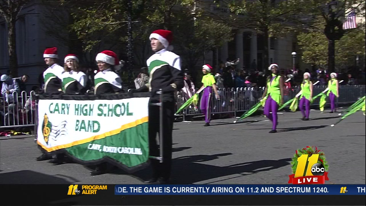 Cary High School Band performs at the 2018 Raleigh Christmas Parade.