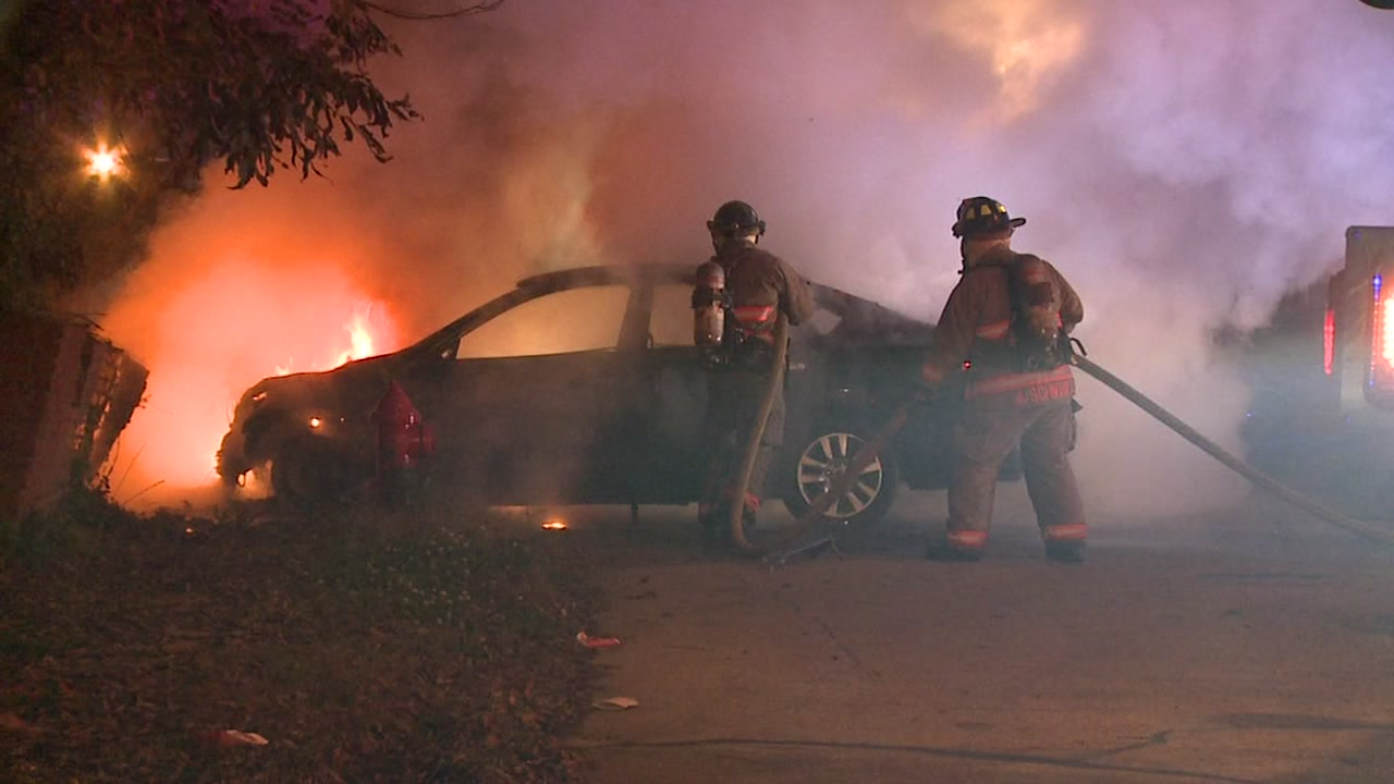 A car crashed and caught fire in Durham on Monday morning.