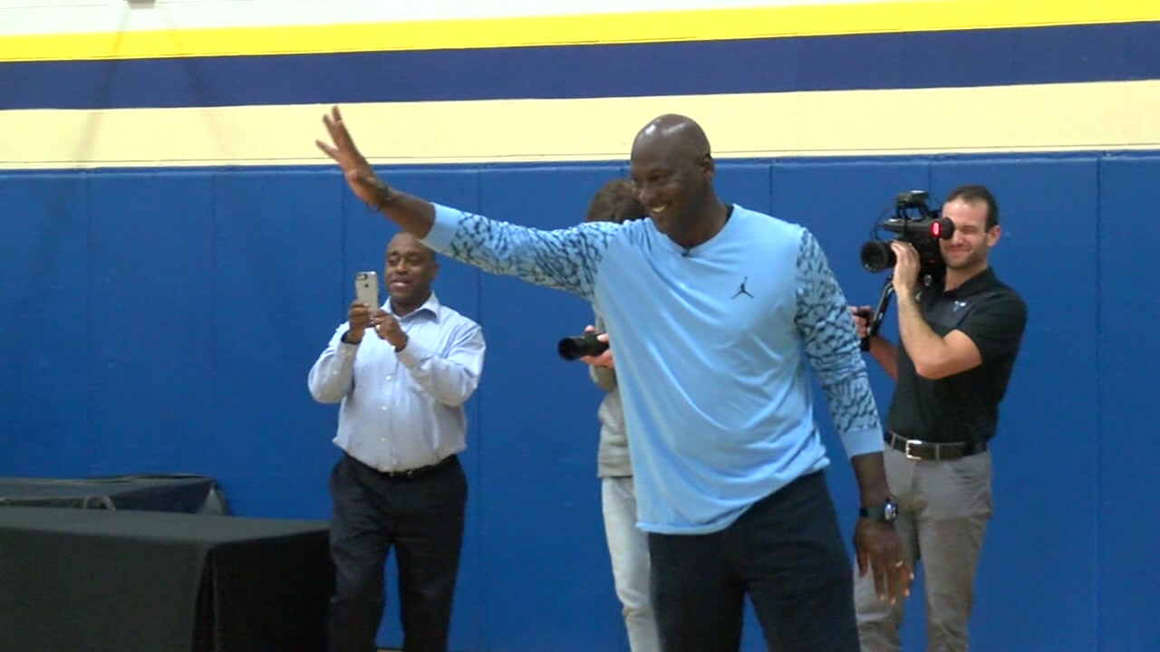 Michael Jordan returned to Wilmington, where he was raised, to lift spirits and help with hurricane recovery.