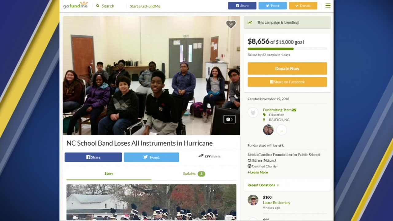 A GoFundMe has been set up to help students who lost their instruments during Hurricane Florence.