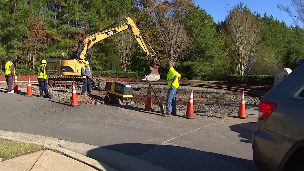 Two massive potholes have been plaguing the entrance to the Emerald Pond retirement community in Durham for months.