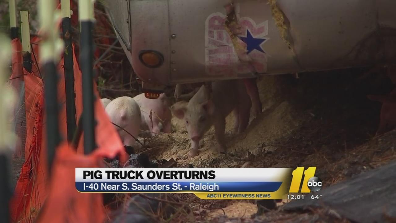 Pig truck overturns on I-40