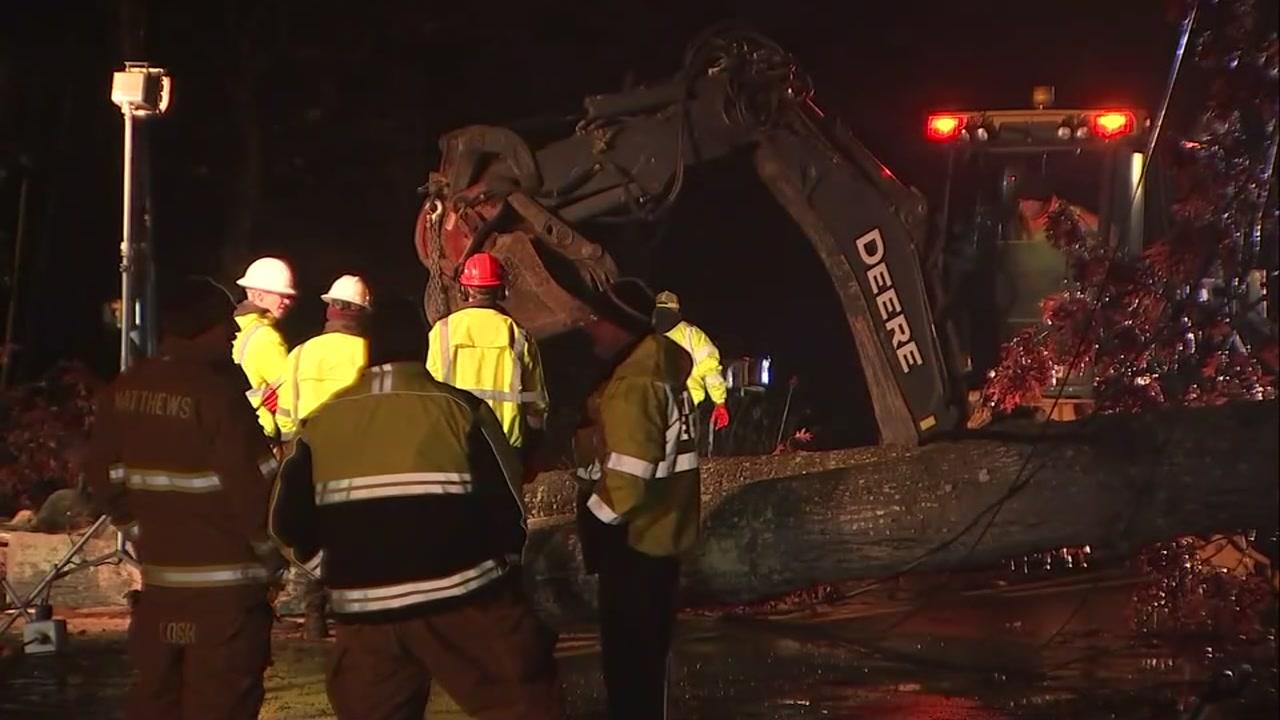 1 dead after tree falls on car in Matthews