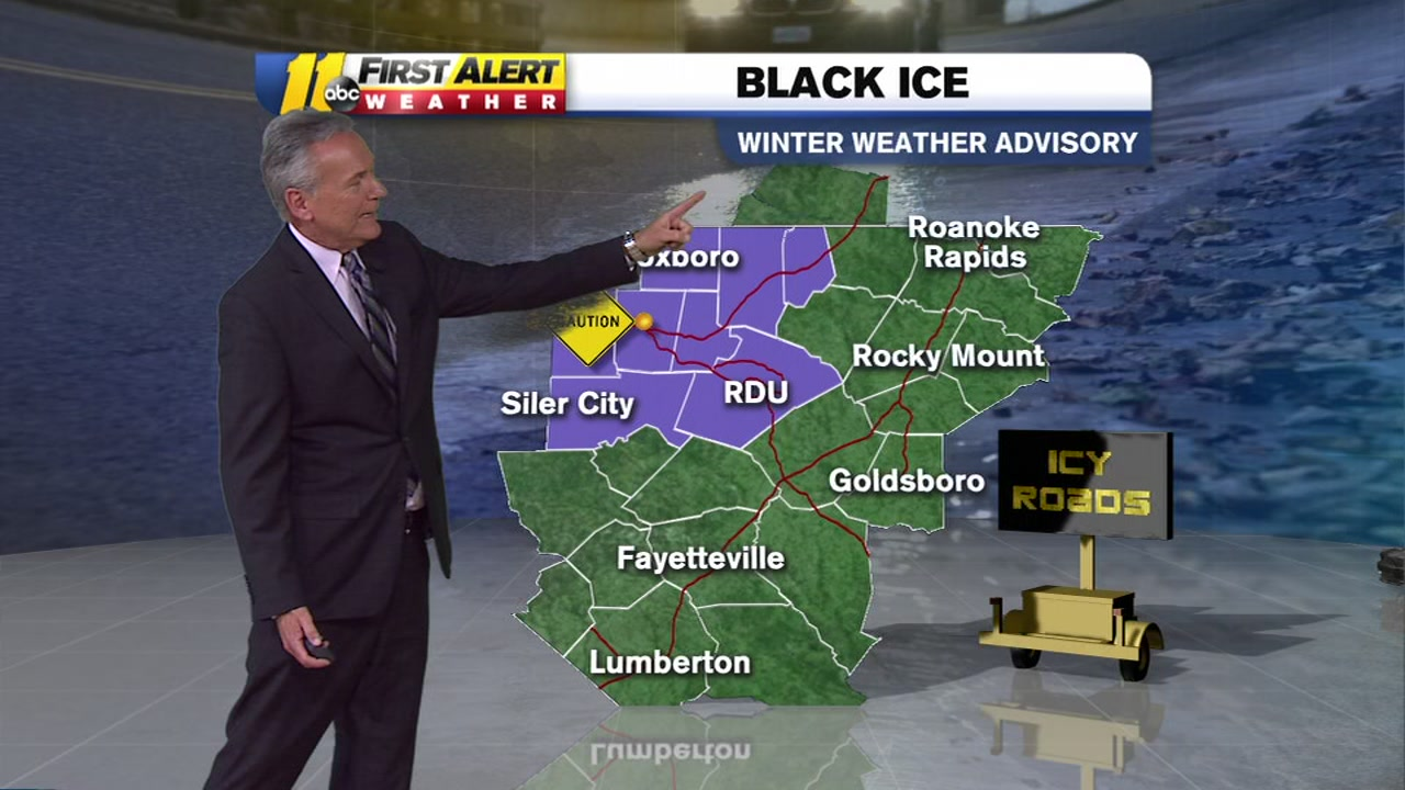 Black ice remains a threat overnight into Wednesday.
