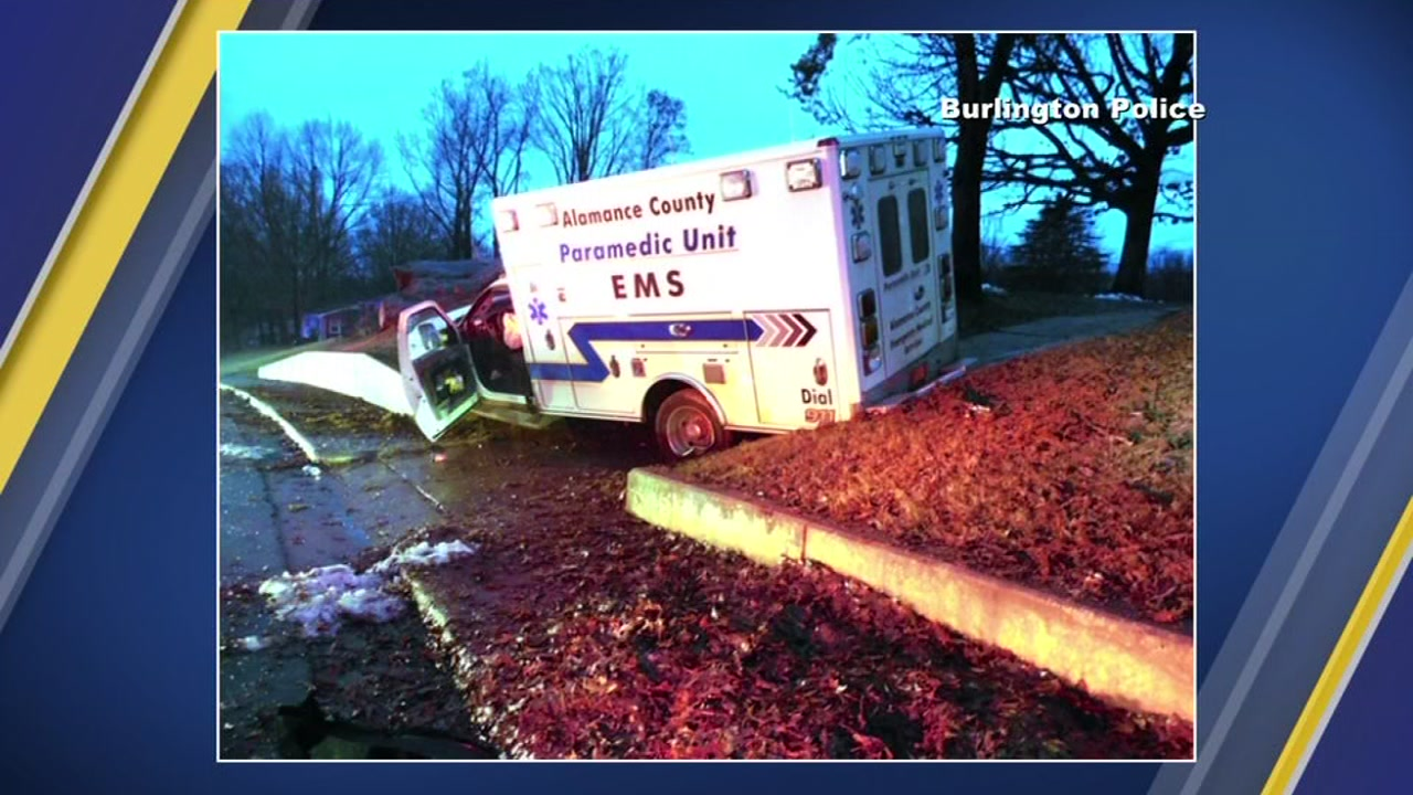 An ambulance crashed after the driver fell asleep.