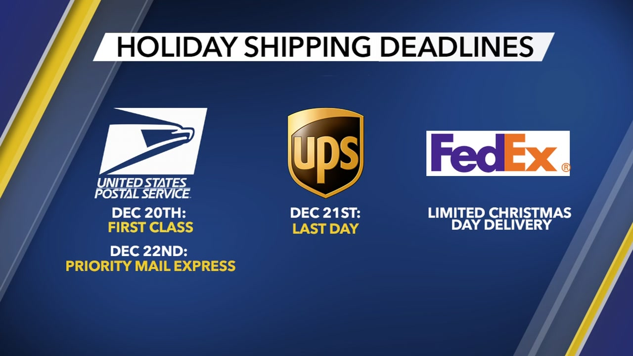 Here are the deadlines for holiday shipping 2018