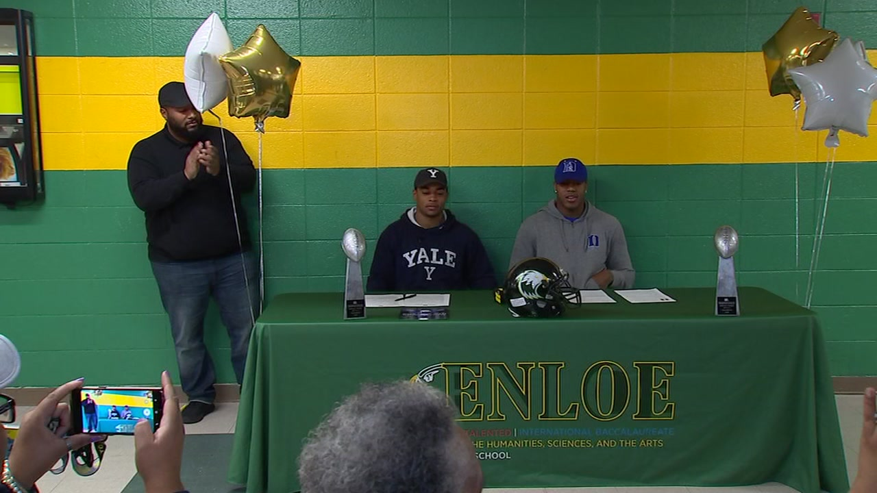 Two Enloe football players announce college choices on National Signing Day.