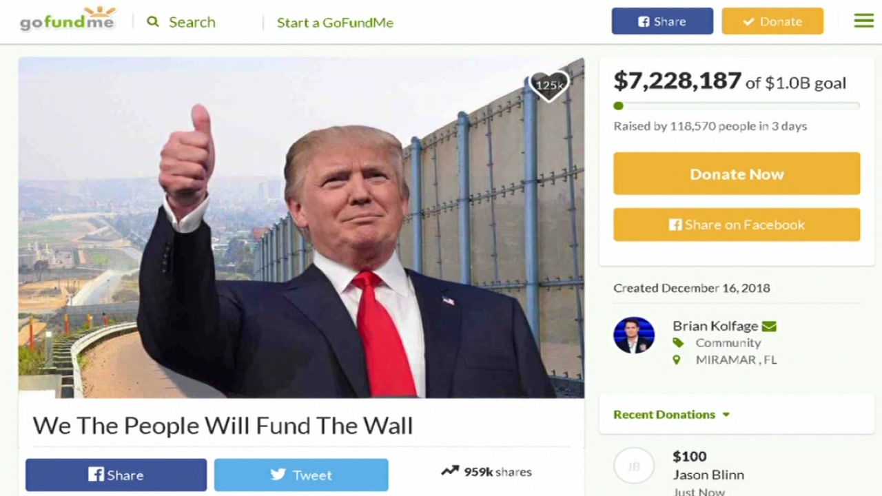 A Florida veteran starts a fundraiser for the border wall.