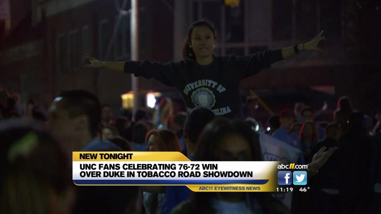 UNC celebrates win over Duke