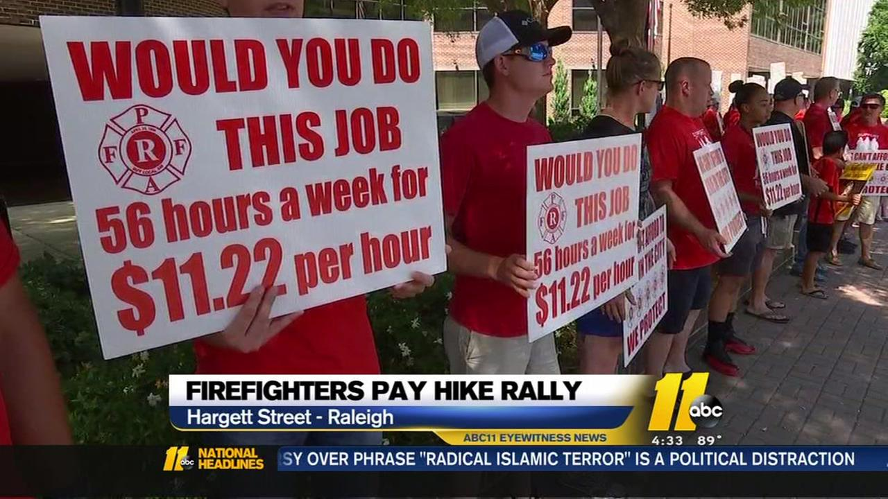 Raleigh firefighters pay hike rally