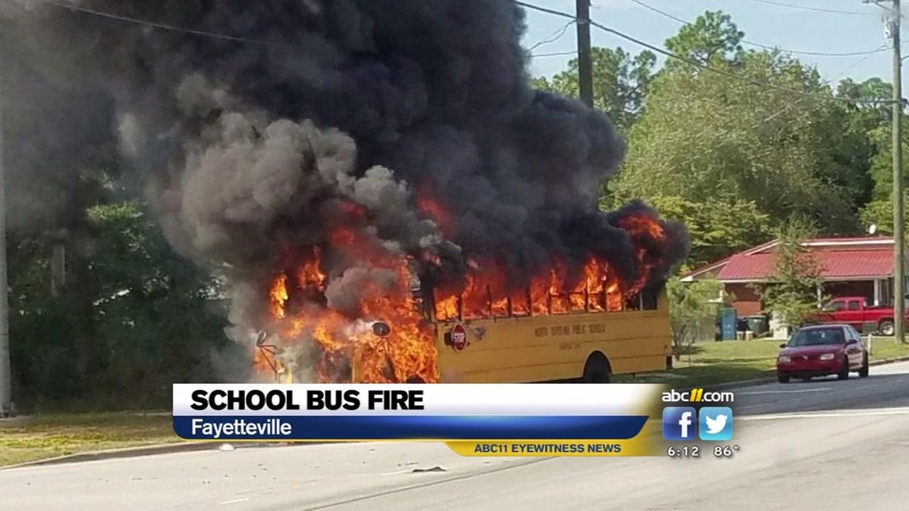 Students out safely before Fayetteville bus bursts into flames