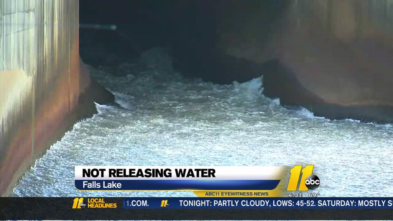 Officials not releasing water from Falls Lake dam