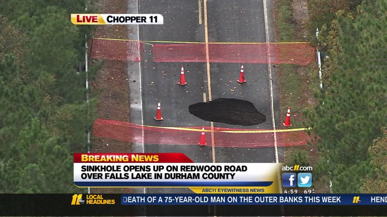 Sinkhole opens up on Redwood Road
