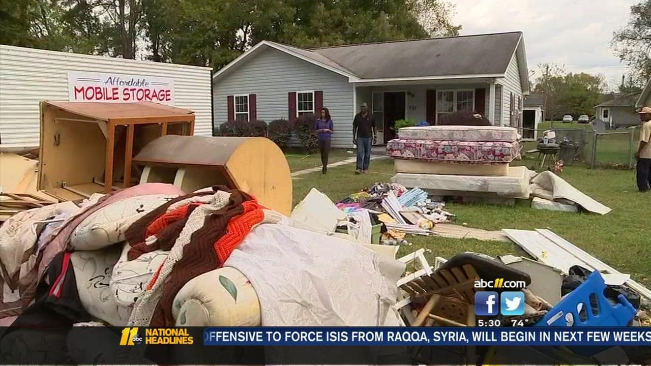 Storm debris unloaded in Harnett County
