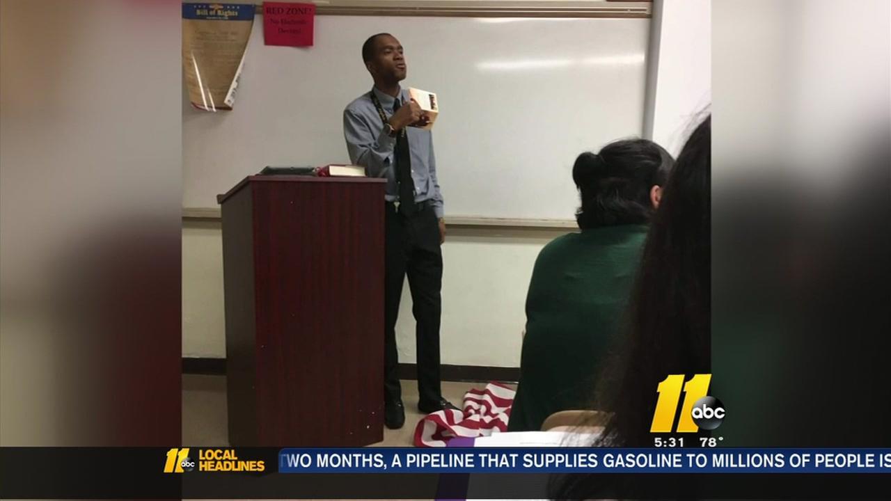 Flag-stomping teacher wont return