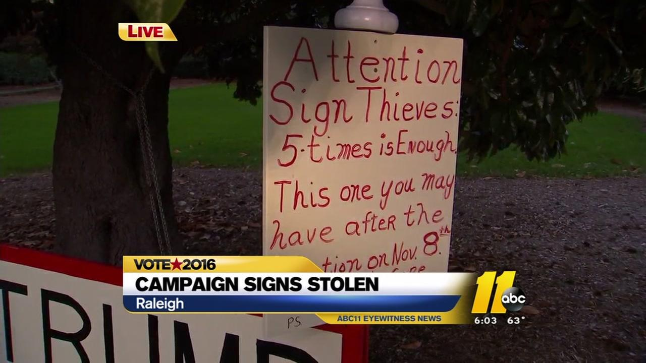 Both sides fed up with campaign sign theft, vandalism