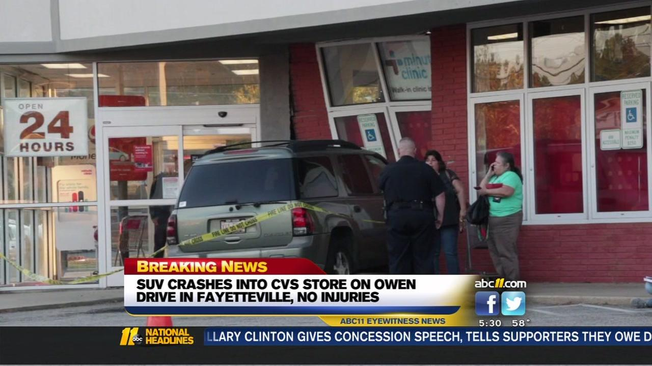 SUV crashes into CVS in Fayetteville