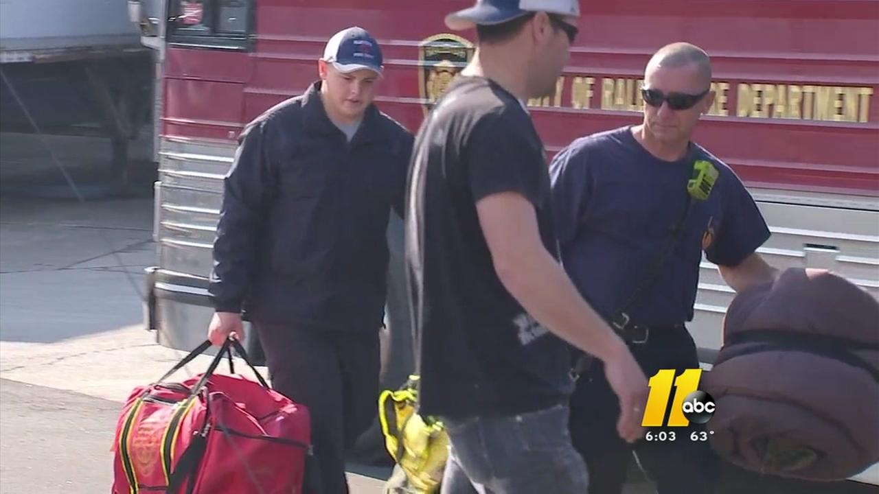 Wake County firefighters head west