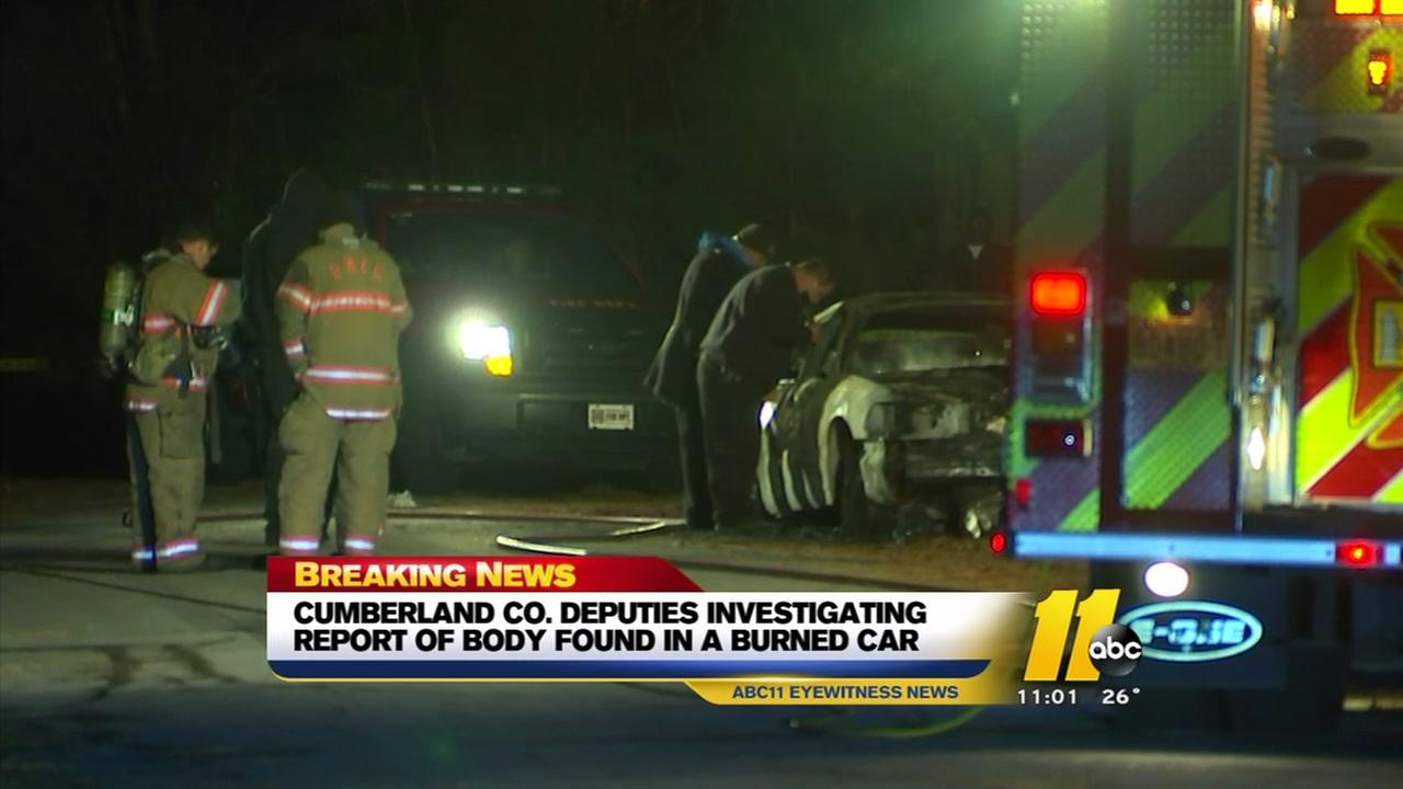 Body found inside burned car in Fayetteville