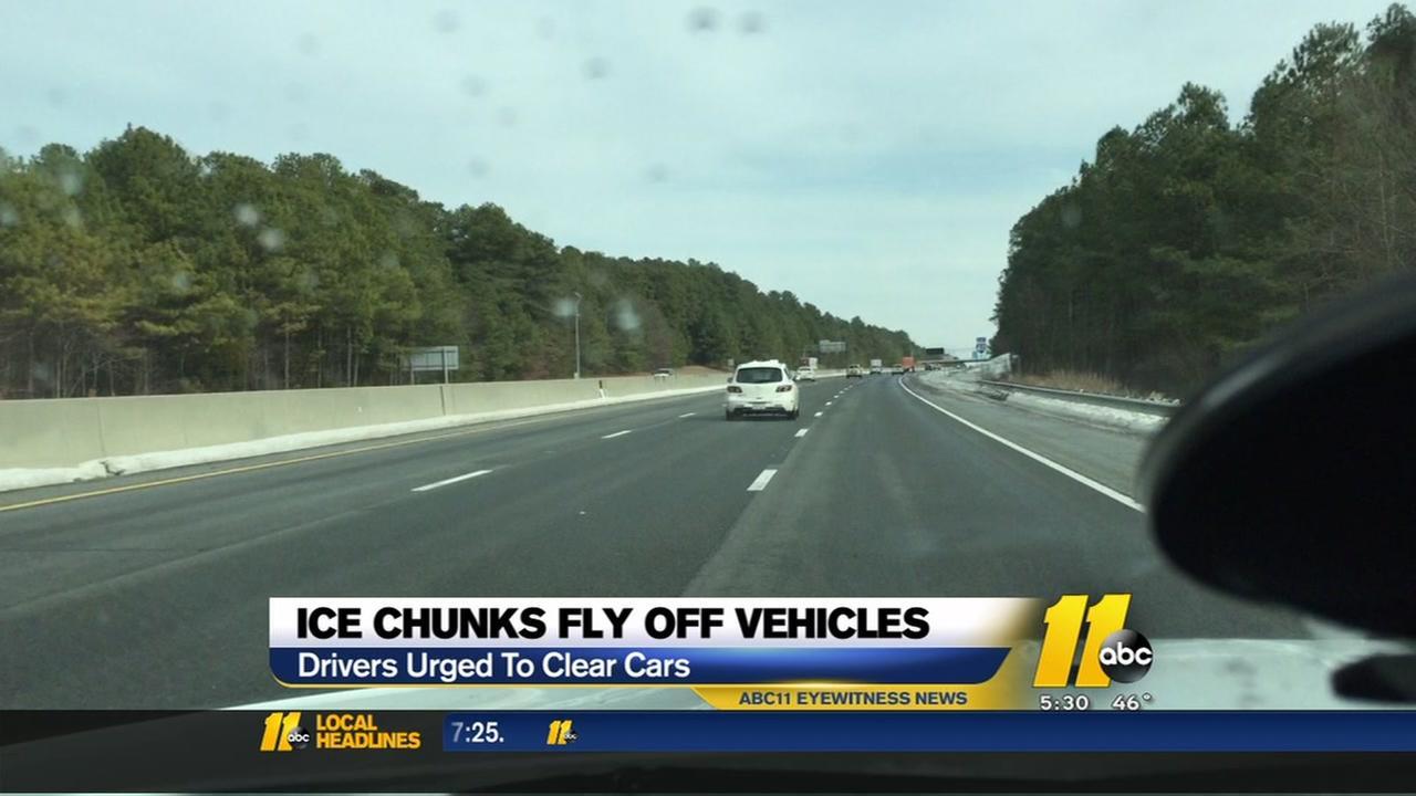 Ice chunks fly on vehicles