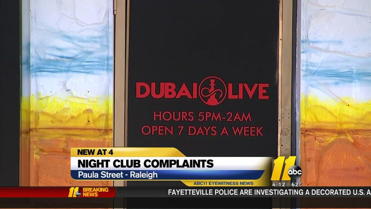 Night club complaints in Raleigh