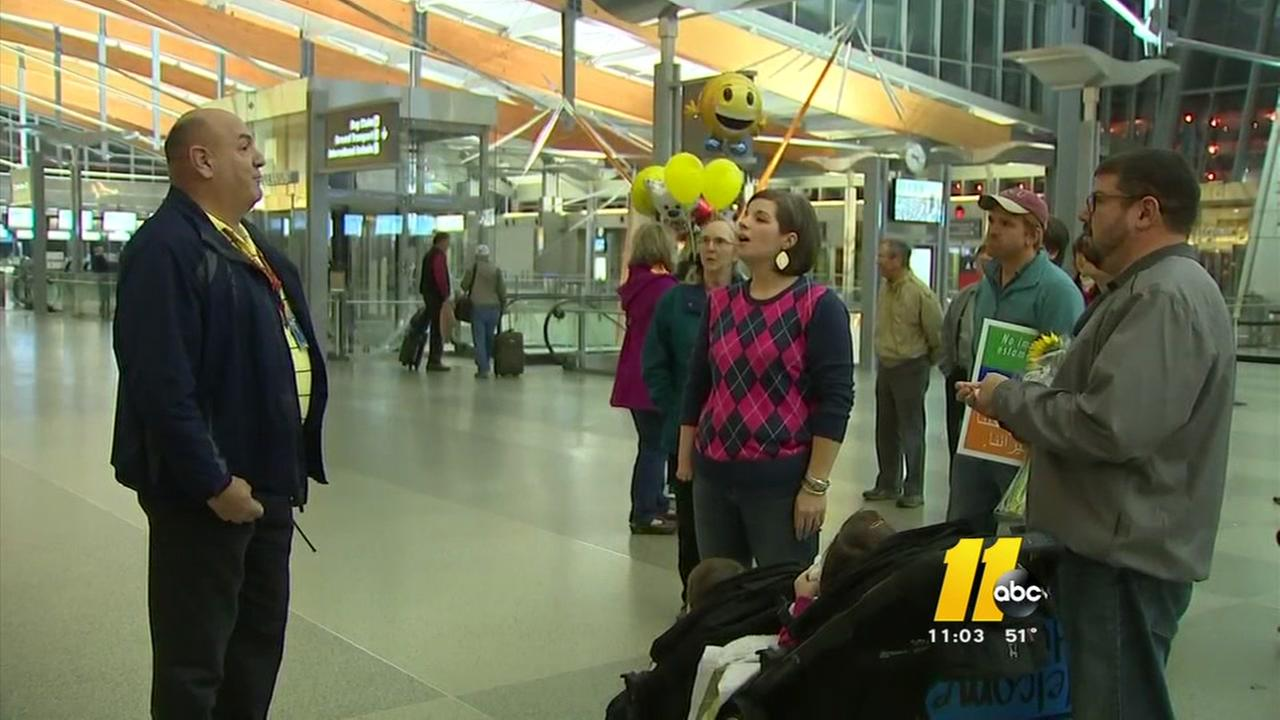 A refugee welcome party at RDU